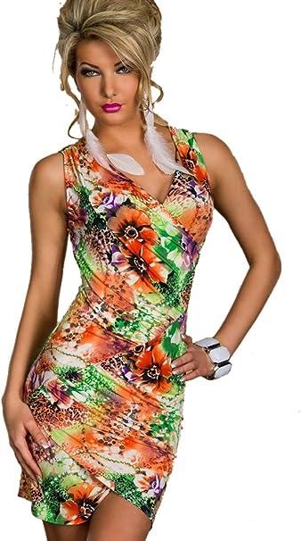 Blansdi Sexy Damen Ruckenfrei V Hals Bunte Blumen Kleid Minikleid Party Abendkleid Cocktailkleid Dress Skirt Grun Amazon De Bekleidung