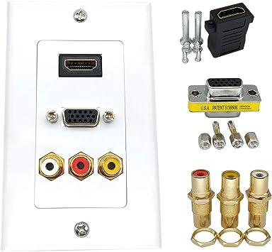 QiCheng&LYS Distribución y Organización Placas de Pared Panel, Compuesto HDMI VGA 3RCA Adaptador de vídeo Audio Placa de Pared, Apoyo 1080P de Salida, tamaño 115 mm x 70 mm (HDMI, VGA, 3RCA):