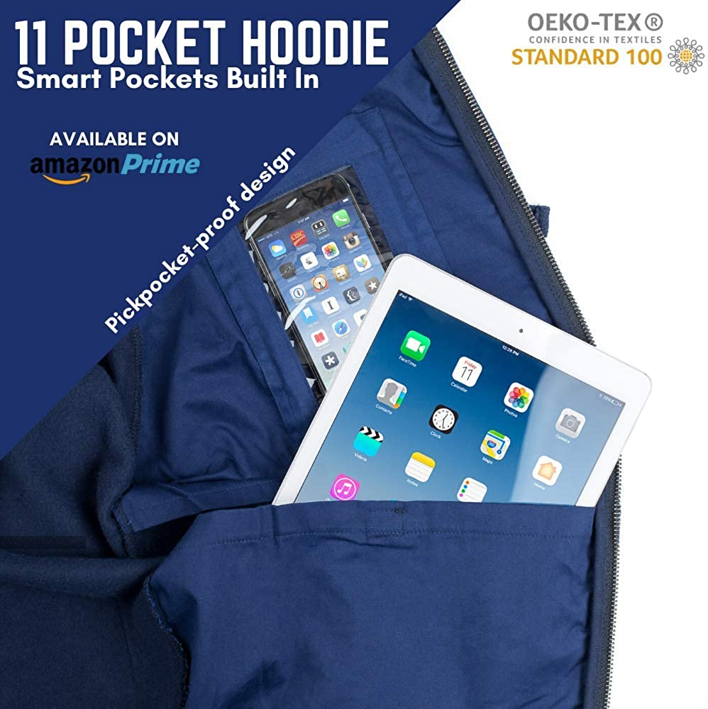 AyeGear H11 Hoodie with 11 Pockets, Earphone Management Enabled, iPad or Tablet Pocket, Multipocket Zip up Fleece Jacket Navy