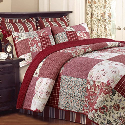 - Cozy Line Home Fashions Delilah Quilt Set, Red Rose Real Patchwork 100% Cotton Reversible Coverlet Bedspread, Wedding Anniversary Romantic Home Decor for Bedding Bedroom (Red Floral, Queen - 3 Piece)