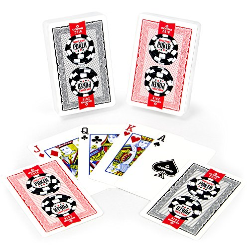 (Copag Lace 2016 WSOP World Series of Poker Plastic Playing Cards, Red/Black, Bridge Narrow Size, Regular Index)