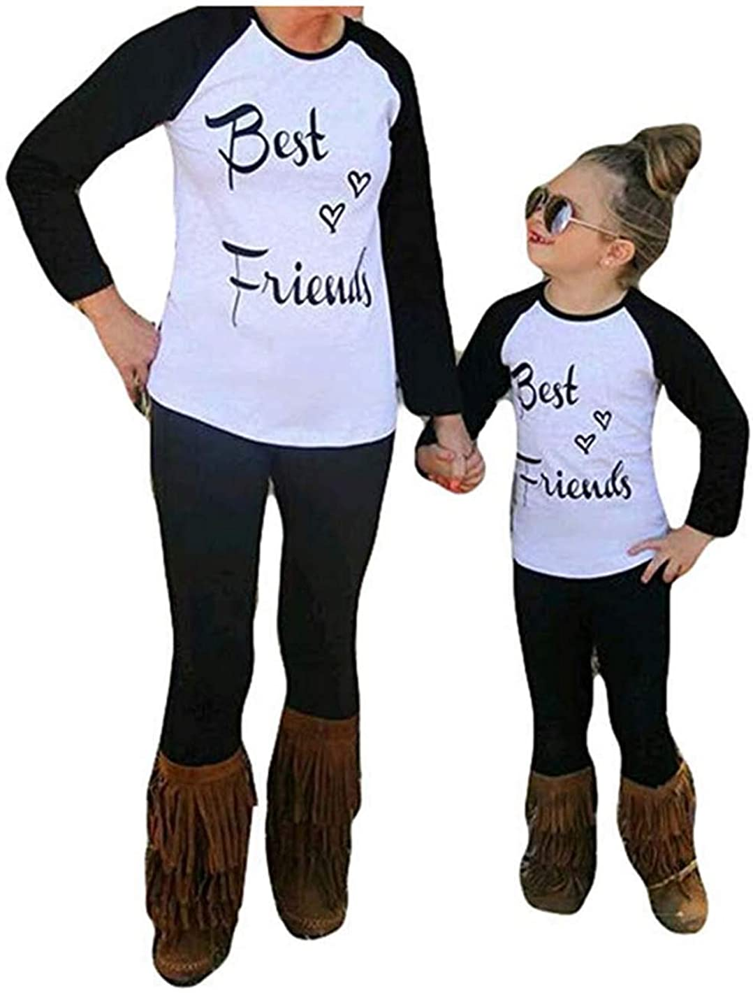 Mommy and Me Clothes Family Matching Letter Print Long Sleeve T-Shirt Mother Daughter Blouse Tops Outfits