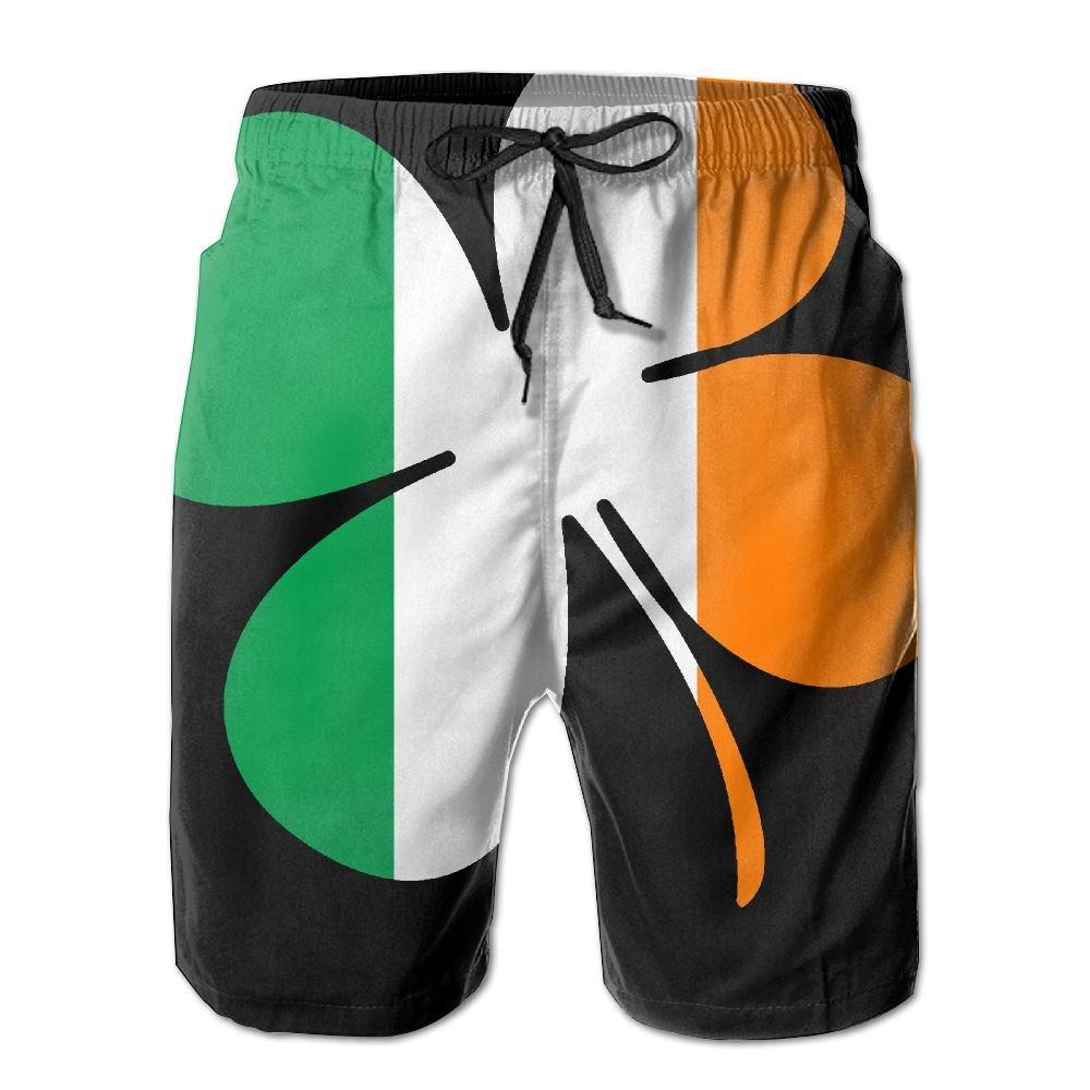 STLYESHORTS Irish Flag With Shamrocks Mens Polyester Beachwear Board Shorts Quick Dry