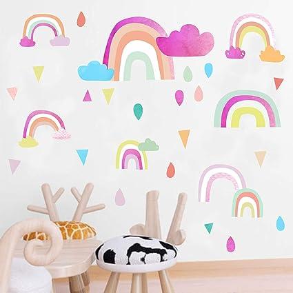 Amazon.com: Easu Rainbow Wall Decals Raindrop Wall Sticker Removable ...