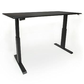 Schreibtisch elektrisch höhenverstellbar 160 x 80 cm mit tüv zertifizierung schwarz