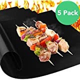 Vremi Set of 5 Non Stick Reusable BBQ Grill Mats for Gas Charcoal Electric and Smoker Barbecue Grills - BPA Free Heavy Duty Heat Resistant Outdoor Mat as Baking Oven Liner Accessories - Easy to Clean