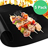 Vremi Grill Mat - Set of 5 Heavy Duty Non Stick and Reusable BBQ Grill Mats - Heat Resistant BPA Free and Easy to Clean for Gas Charcoal Electric Smoker Barbecue Grills or as Baking Oven Liner