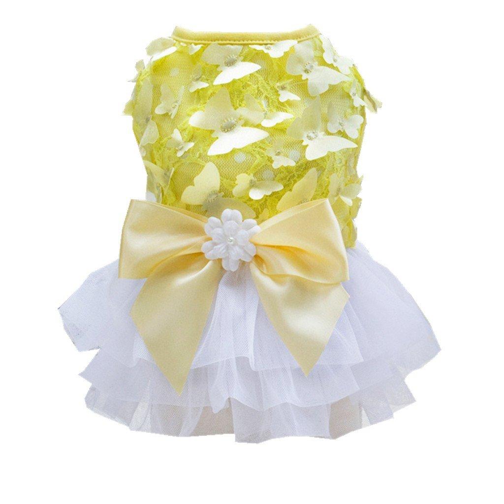 46e499a2e577 Homyl Cane Pet Partito Matrimonio Abito Costume Farfalla Bownot Stile  Princess Gonna Collezione Serale per Cucciolo - Giallo e bianco