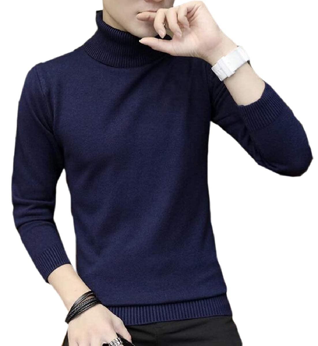YIhujiuben Mens Keep Warm Silm Fit Pullover Long-Sleeved Knitted High Neck Sweaters