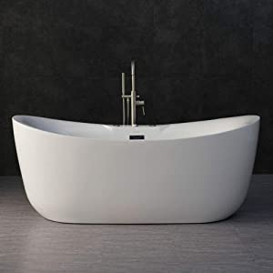 "Woodbridge 71"" Water Jetted and Air Bubble Freestanding Bathtub with Chrome Overflow and Drain, BTS1611,White, BTS-1611 whirlpool tub"