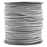 T&B 3mm Faux Suede Cord Flat Lace Leather String 100 yd/roll for DIY Jewelry Making (Light Grey)