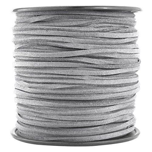 T&B 3mm Faux Suede Cord Flat Lace Leather String 100 yd/roll for DIY Jewelry Making (Light Grey) by T&B