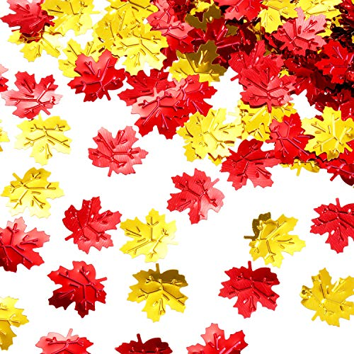 (Jetec Fall Leaves Confetti Artificial Autumn Maple Leaves Table Scatters Party Decorations for Thanksgiving Autumns Wedding Decor)
