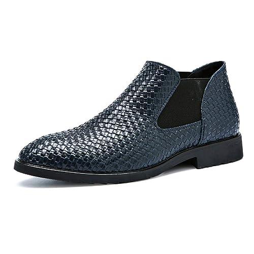 Zapatos Cortos de Martin para Hombre de Cuero Tejidos a Mano Botines de Negocios Zapatos Deportivos Patrones de Patente Zapatos Casuales Brillantes: ...
