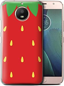 Phone Case for Motorola Moto E4 Plus 2017 Fruit Trend Summer Cartoon Sweet Strawberry Design Transparent Clear Ultra Slim Thin Hard Back Cover