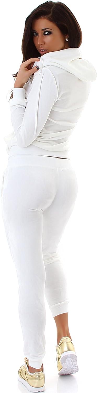tuta da 2 pezzi con giacca e pantaloni tuta da casa Jela London con effetto velluto tuta da allenamento per il tempo libero tuta da jogging da donna taglie: 34//36//38//40