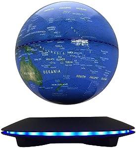 "Magnetic Globe, Levitation Floating Rotating Wireless Transmission Touch Control 6"" Blue Globe UFO Platform Induction LED Home Decor"