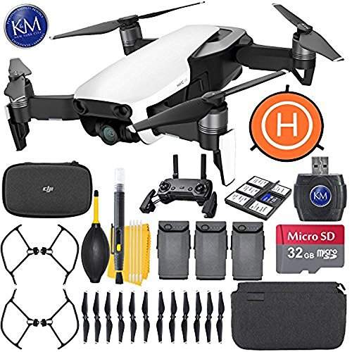 DJI Mavic Air Fly More Combo (Arctic White) + 32GB Memory + K&M Starter Bundle by K&M
