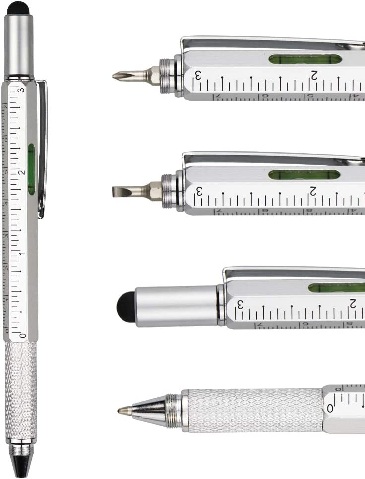 Phillips Screwdriver Bubble Level and Ruler DunBong Metal Multi tool Pen 6-in-1 Stylus Pen Ballpoint Pen Black ink Blue Stylus pen With Screwdriver Flathead Bit Slotted Screwdriver