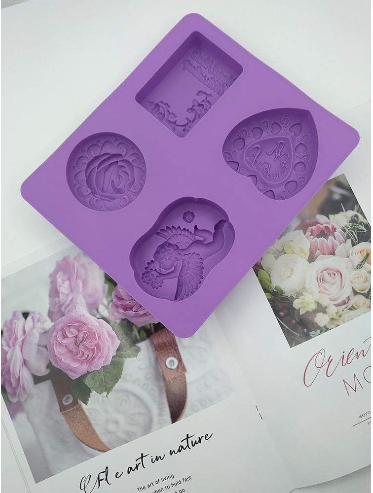 Molde de Silicona de 4 Cavidades Cubitos de Hielo Galletas jiyuan Moldes de Silicona para Jab/ón Jab/ón Hecho a Mano DIY Molde de Silicona y Jab/ón para Hornear Pasteles Chocolate