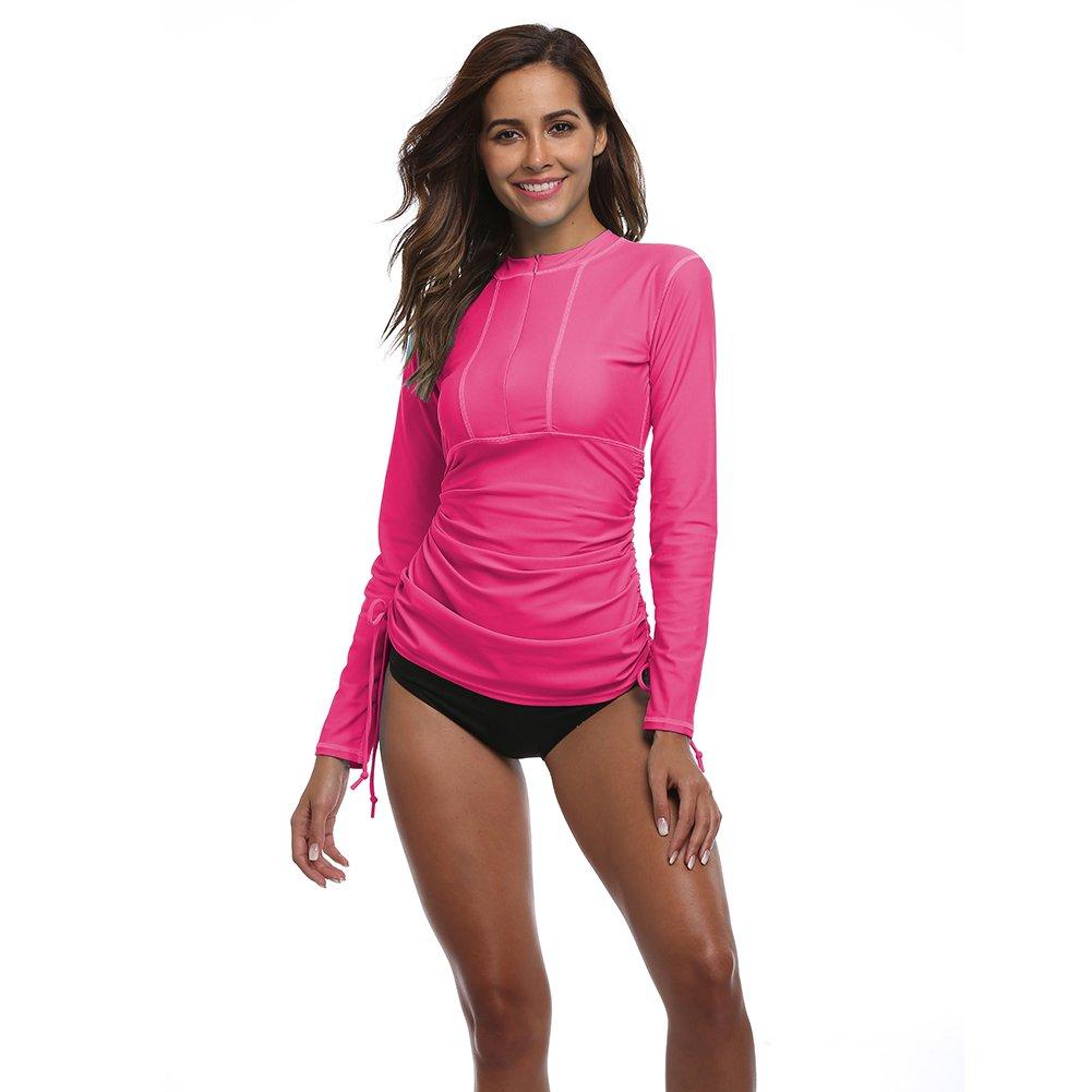 Women's UV Sun Protection Long Sleeve Rash Guard Wetsuit Swimsuit Top Lynddora