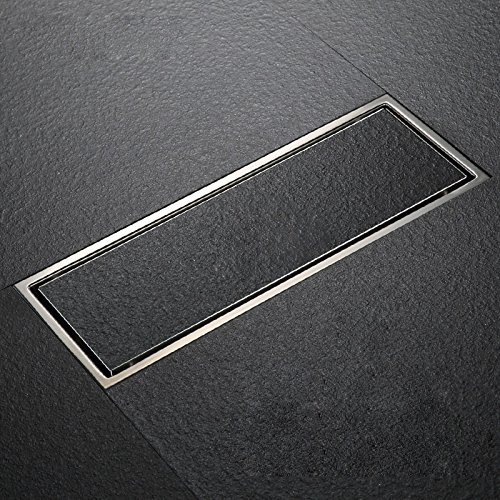 SUS304 Stainless Steel Linear Shower Floor Drain with Tile Insert Grate Removable Cover 11.8 inch Long, Brushed Finish (Drain Tile Floor)