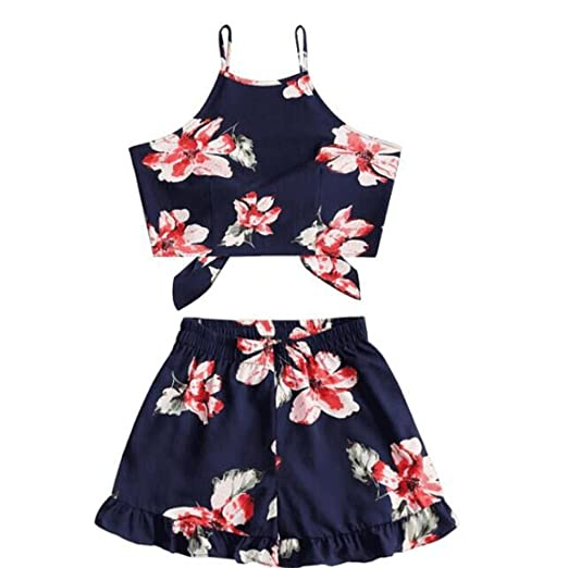 a8d2a715c2c Qisc Womens Jumpsuit Romper Women s 2 Pcs Floral Print Bohemian Crop Tops+Shorts  Set Two