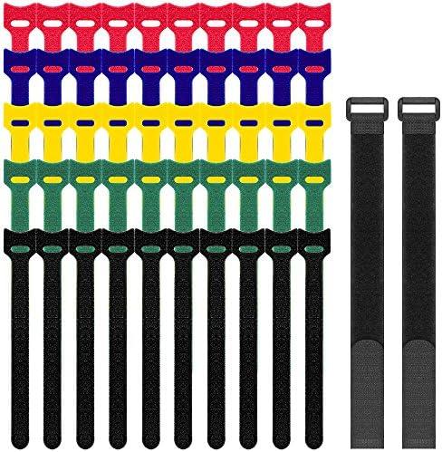 SENHAI Cable Ties 52 Pack (50 6\u201d Straps 2 12\u201d Straps) Reusable Microfiber Cloth Cable Straps Adjustable Hook and Loop Cord Organizer Ties Multicolor