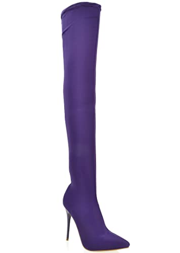 a9713aa1bee Amazon.com | Shoe Republic Spandex Thigh High Pointy Toe Stilleto Boots  Amelie (Purple 7) | Boots