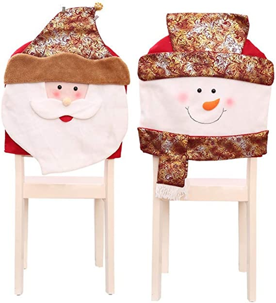 YOUDirect Xmas Chair Cap Sets 8 PCS Santa Claus Cap Chair Cover Snowman Red Hat Chair Back Covers Non Woven Chair Back Cover Sets Christmas Banquet Decorations 8 Pack