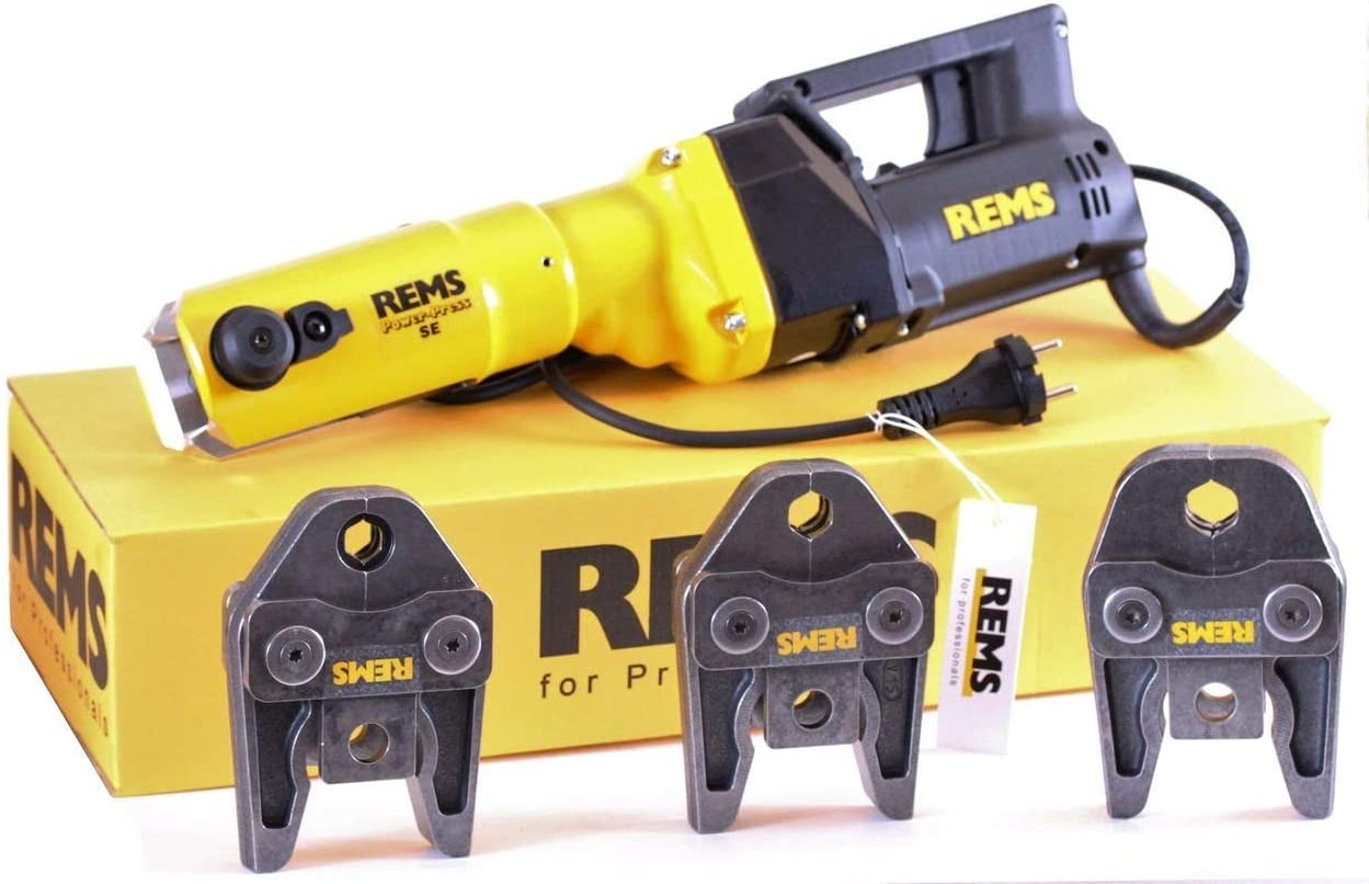 REMS, máquina de prensar Power Press E + 3 mordazas de prensa V M también para S