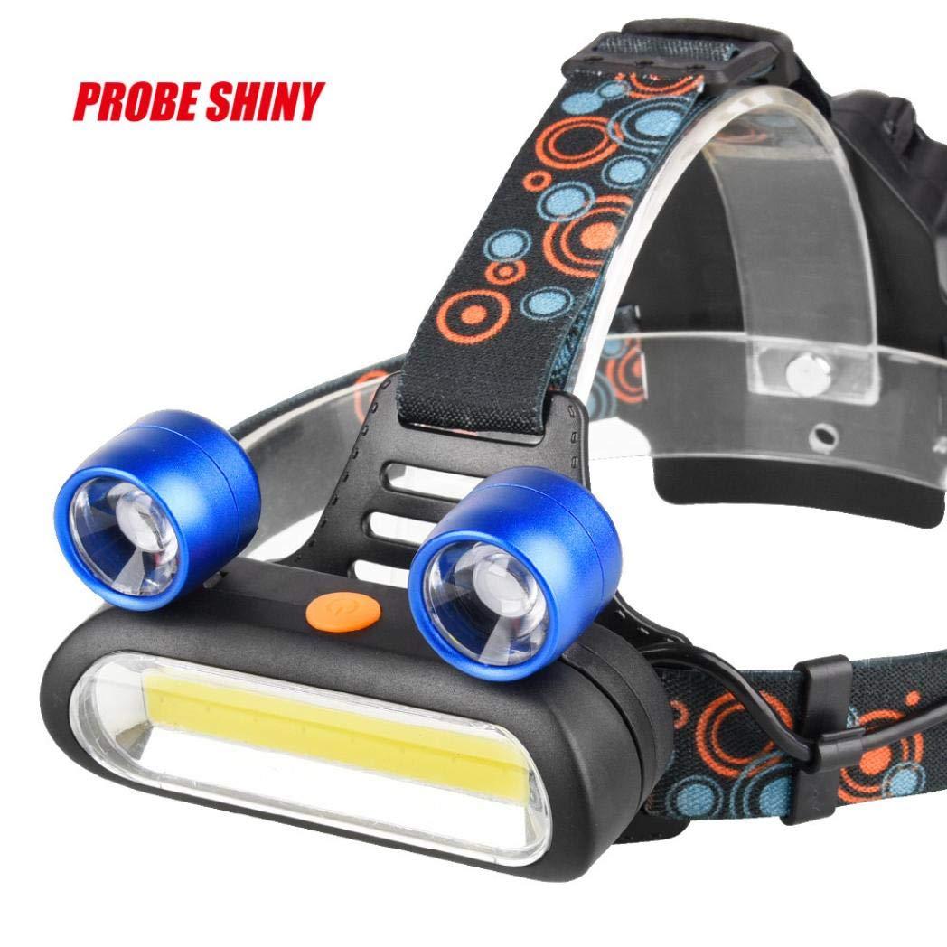 15000LM 2x XM-L T6 LED + COB Recargable 18650 Faro Antorcha de Cabeza Linterna Lámpara Frontal Perfecto Heligen Para Camping, Pesca, Ciclismo, Carrera, Caza y Más