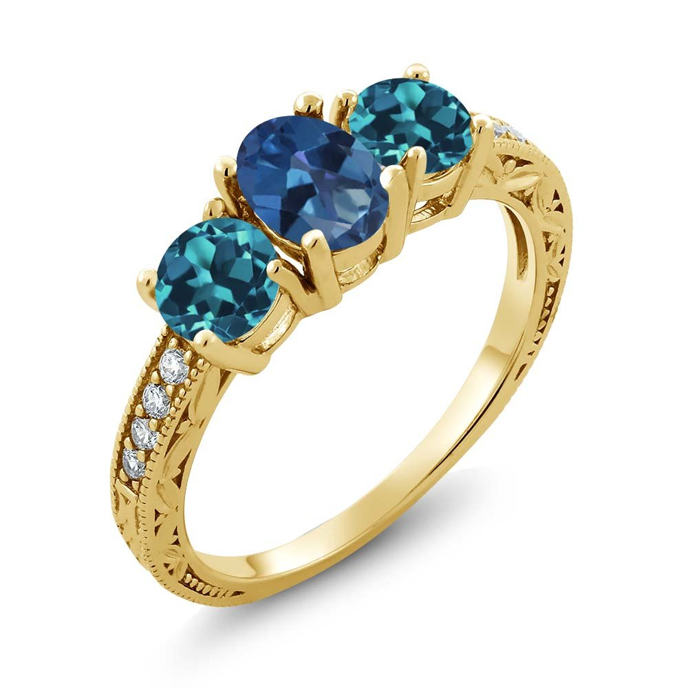 Gem Stone King 1.92 Ct Blue Mystic Topaz London Blue Topaz 18K Yellow Gold Plated Silver Ring