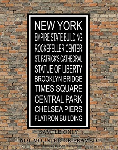 New York City Subway Sign Print - Iconic Points of Interests in New York - Multiple Sizes (Center Artwork Rockefeller)