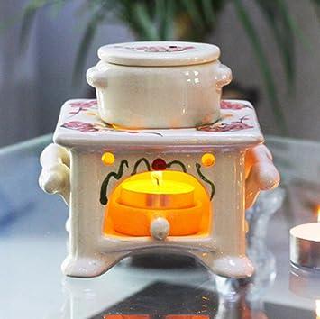 ZMINGM Horno de cerámica Aromaterapia velas perfumadas suministros Incienceros Aroma Portavelas estufa,Gran Plaza ciruela