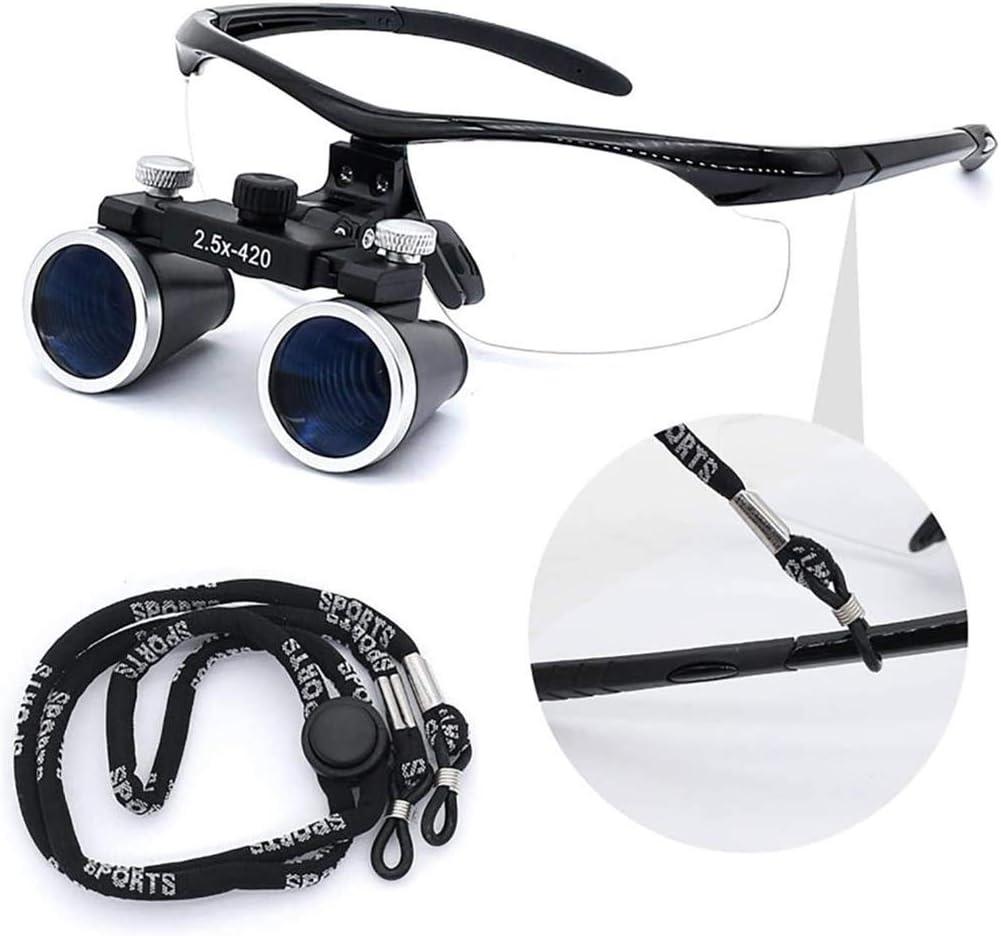 HCMNMW Lupas iluminadas montadas en la Cabeza , 2.5X /3.5X Lupa Binocular con 3W Spotlight Head Light Recargable para cirugía de Dentista, 2.5X para Pasatiempos, Lectura, Lupa de joyería, Manual