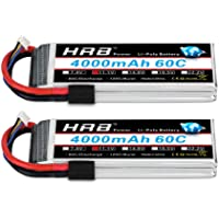 HRB 2PCS 3S 11.1V 4000mAh 60C Lipo Battery with Traxxas TRX Plug for Traxxas RC Car/Truck, Boat,Drone,Buggy,Truggy,RC…