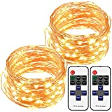 Cymas LED String Lights with Remote Control, 33ft 100LED Waterproof Decorative Lights Dimmable, Copper Wire Lights for Indoor and Outdoor, Bedroom, Patio, Garden, Wedding, Parties (Warm White)[2Pack]