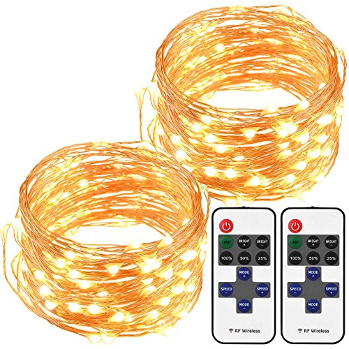 Mpow LED String Lights with Remote Control, 33ft 100LED Waterproof Decorative Lights Dimmable, Copper Wire Lights for Indoor and Outdoor, Bedroom, Patio, Garden, Wedding, Parties (Warm White)[2Pack] by Mpow