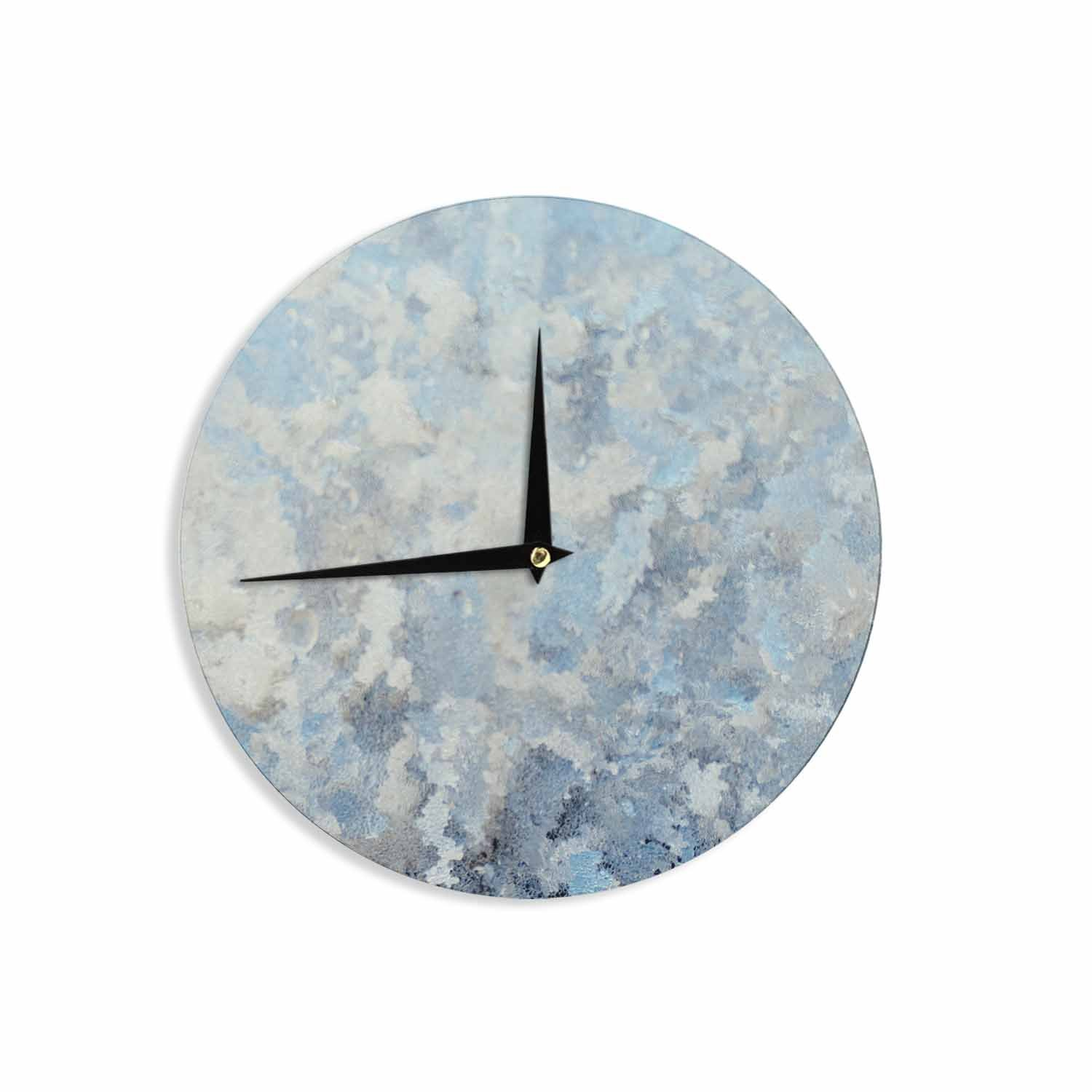 Kess InHouse Chelsea Victoria Frosted Marble Blue White Photography 12 Wall Clock