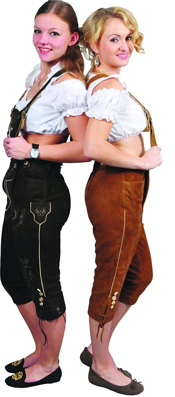 Kniebundhose Leder Damen Wildbock - Trachtenlederhose Damen Kniebundlederhose -Trachten Lederhose mit Träger Schlamm- Trachtenhose Knielang aus echt Leder