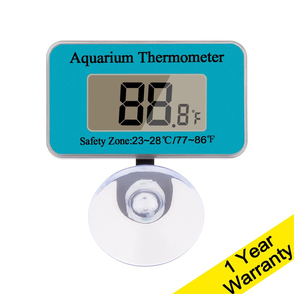 DaToo Aquarium Thermometer With Sucker, Blue, 1 Yr Warranty