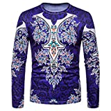 kaifongfu Men Shirt,African 8D Print Mens Long Sleeve Dashiki O-Neck Sweatshirt TopDark BlueXL