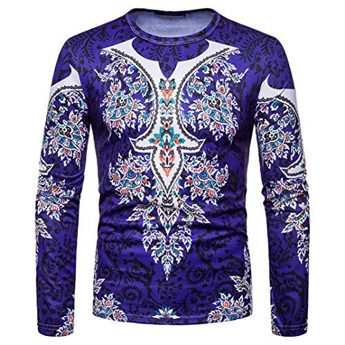 kaifongfu Men Shirt,African 8D Print Mens Long Sleeve Dashiki O-Neck Sweatshirt TopDark BlueXL by kaifongfu-mens clothes