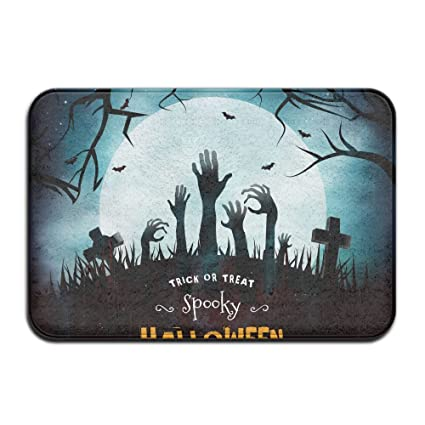 Spooky Halloween Front Door Mat Large Outdoor Indoor Entrance Doormat   Waterproof Low Profile Door Mats