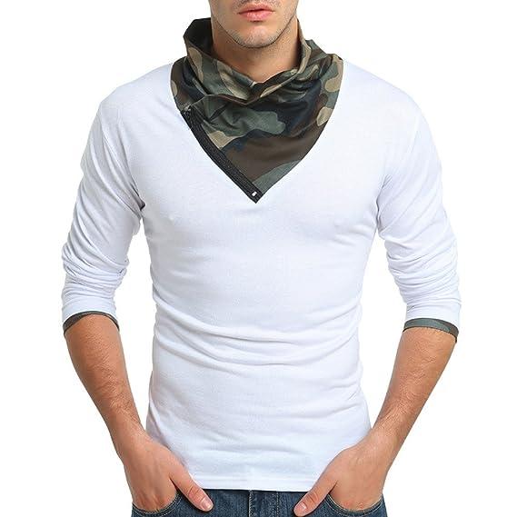 Naturazy Militar Sudadera Camuflaje OtoñAl Invierno Muscle Solid Color Camisetas Camisetas, con Cuello En V Y