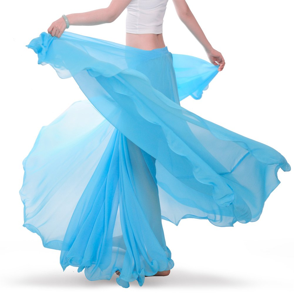 ROYAL SMEELA Chiffon Belly Dance Skirt for Women Belly Dancing Costume Outfit Tribal Maxi Full Skirts Solid Color Skirt Voile, Light Blue by ROYAL SMEELA