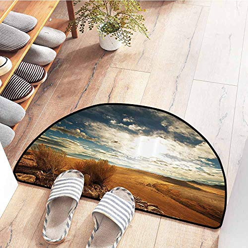 SEMZUXCVO Door mat Americana Landscape Decor Prairie Hot USA Mississippi River Valley with Idyllic View Image Suitable for Outdoor and Indoor use W24 x L16 Orange Blue
