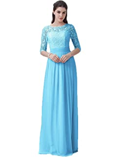 Belle House Womens Long Prom Dresses With Short Sleeve A Line Evening Dresses Lace Ball Gown