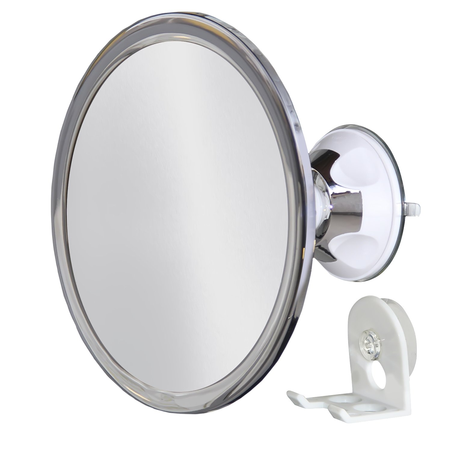 Upper West Collection No Fog Shower Mirror with Rotating, Locking Suction; Bonus Separate Razor Holder | Adjustable Arm for Easy Positioning | Best Personal Mirror for Shaving Available | The by Upper West Collection